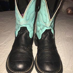 Gemma Light Blue Justin Girls Boot SiZE 8